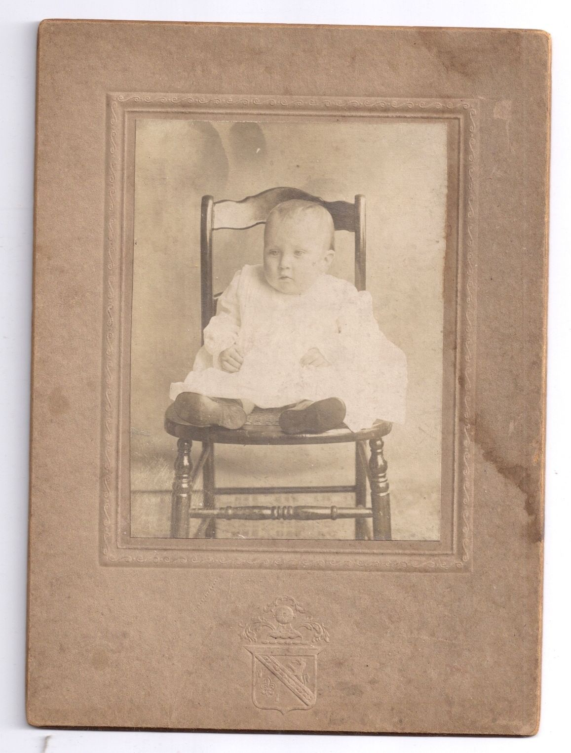 Vintage Photo Baby Portrait Pretty Infant White Dress Posed on Chair ca 1900