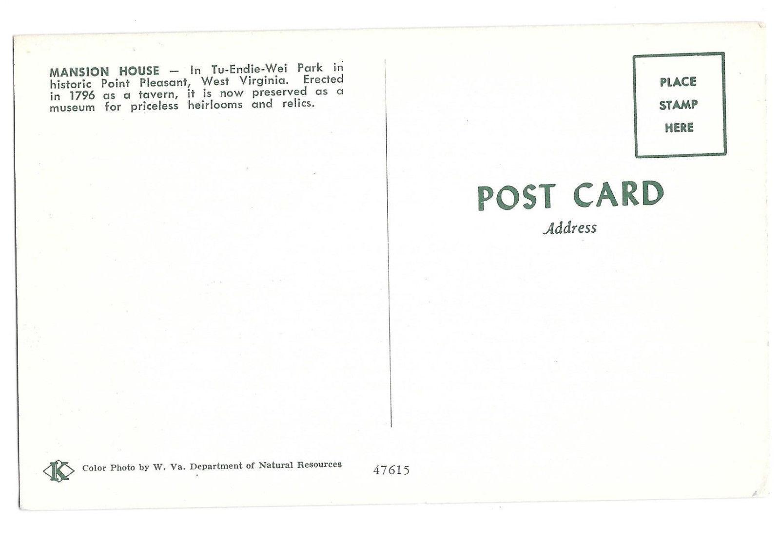WV Point Pleasant Mansion House Tu-endie-Wei Park Vtg Postcard West Virginia