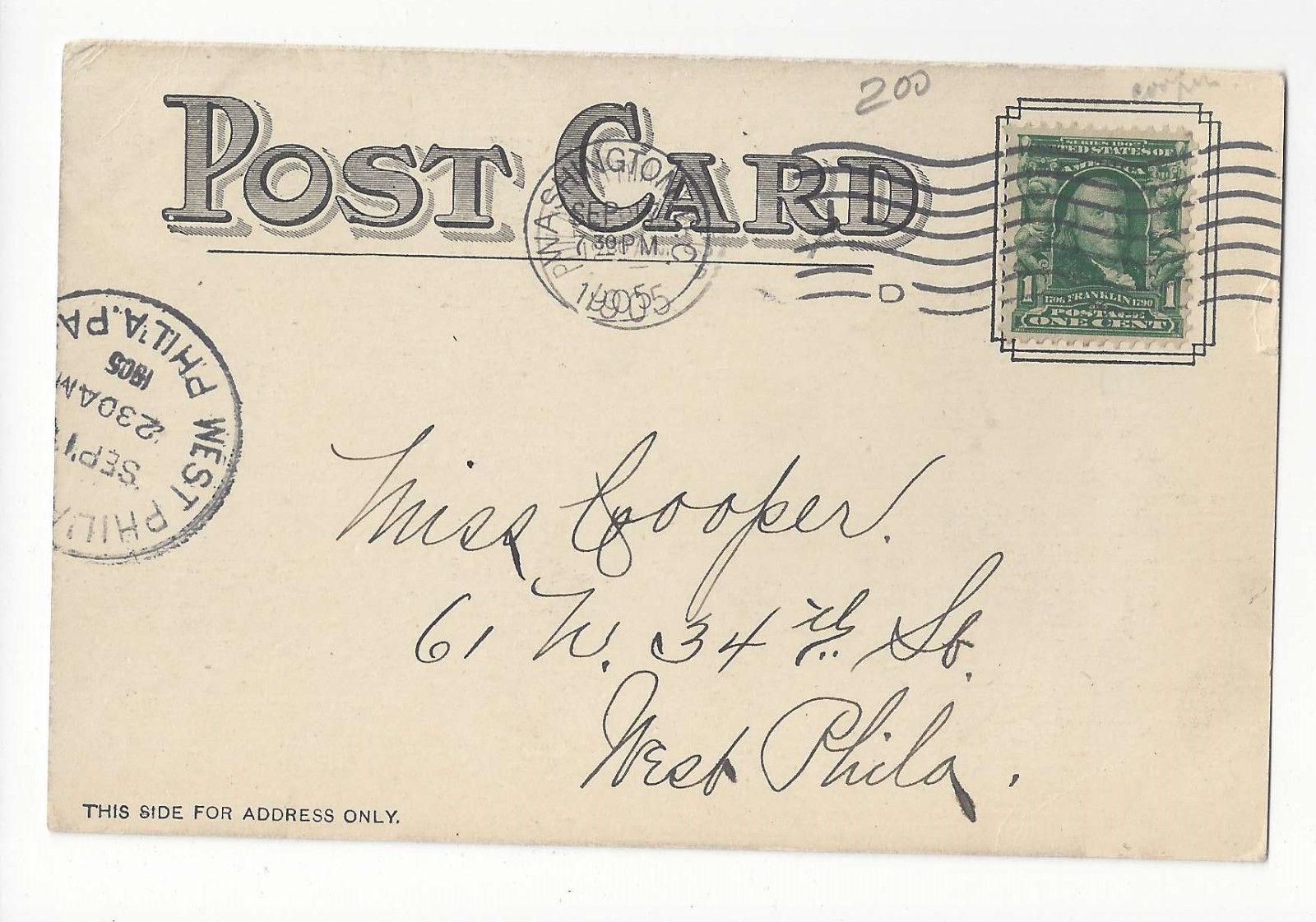 Washington DC Library of Congress Main Hall Vtg UDB Postcard 1905