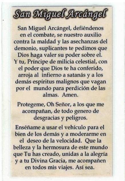 Laminated Prayer Card - San Miguel Arcangel - L300.0090