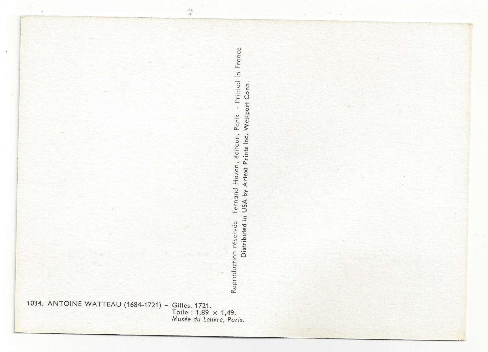 Watteau Art Postcard Gilles Vtg Fernand Hazan Continental Card 4X6