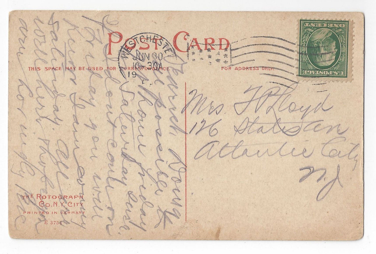West Chester PA State Normal School Library University Rotograph Postcard