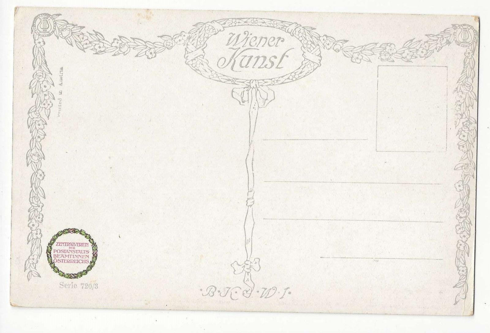 Wiener Kunst Vintage Austrian Art Postcard Serie 720/3 ca 1913