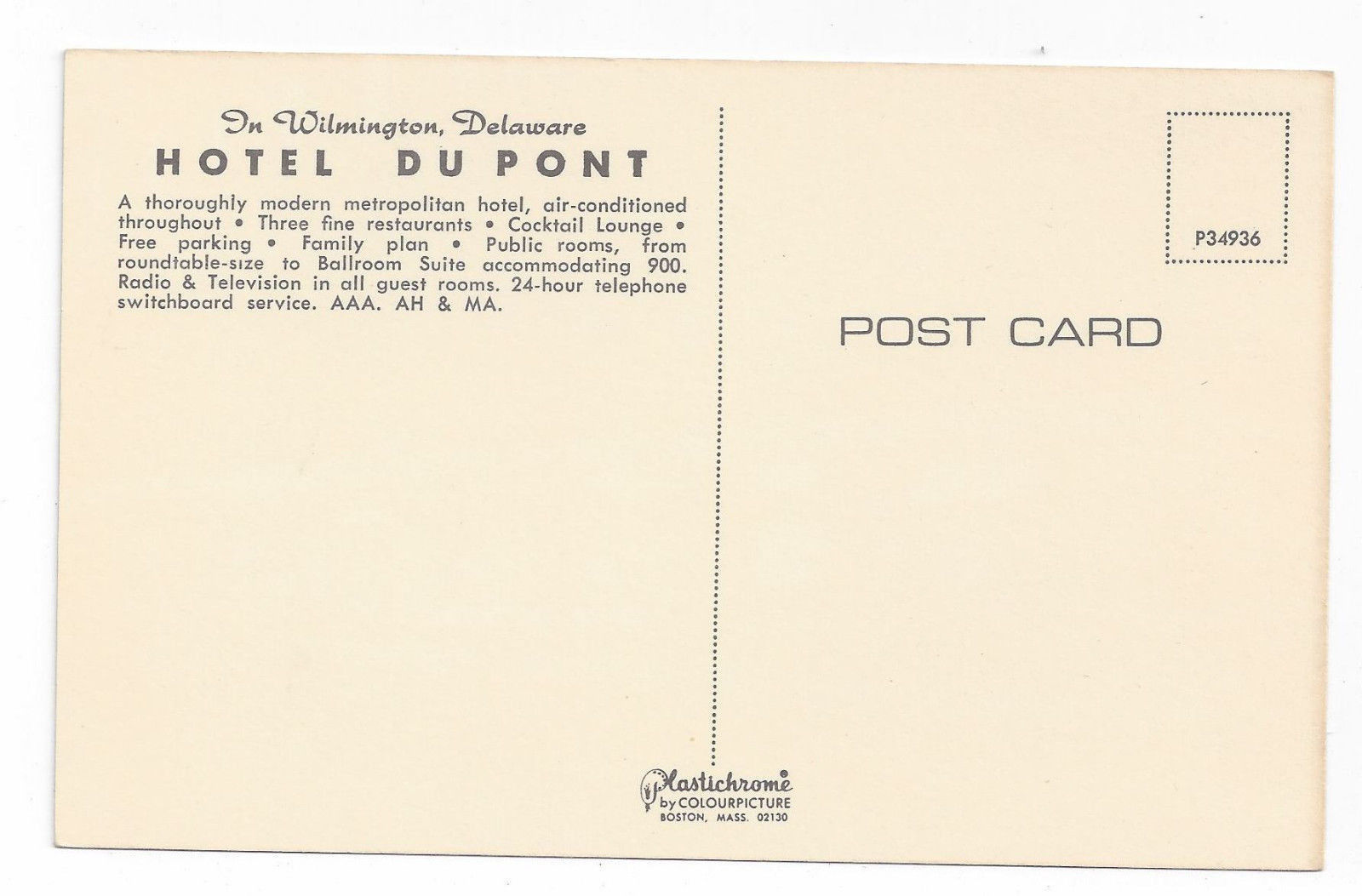 Wilmington Delaware Dupont Hotel at Night Vintage DE Postcard