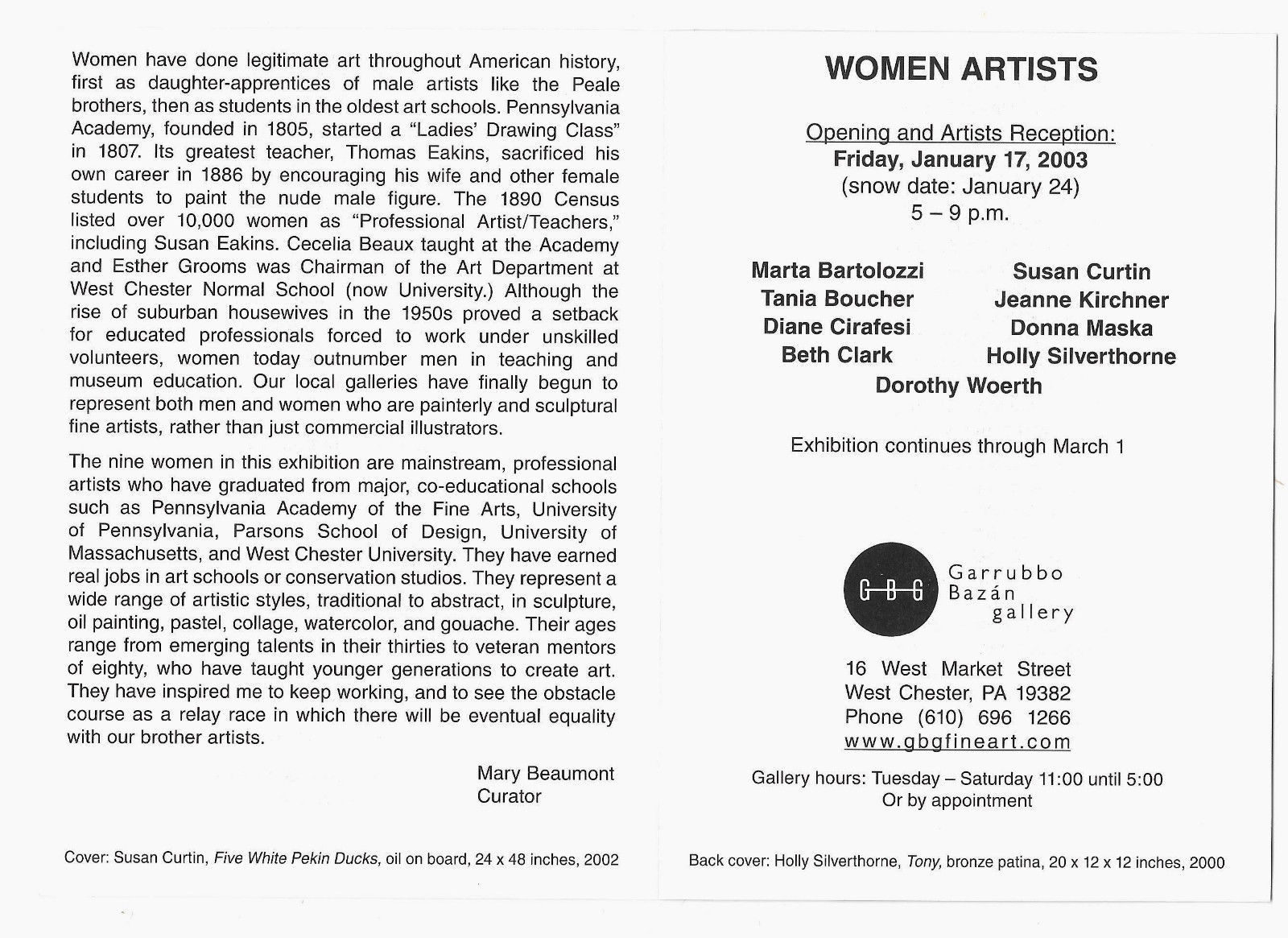 Women Artists Garrubbon Bazan Gallery Chester County PA Invitation Card 2003
