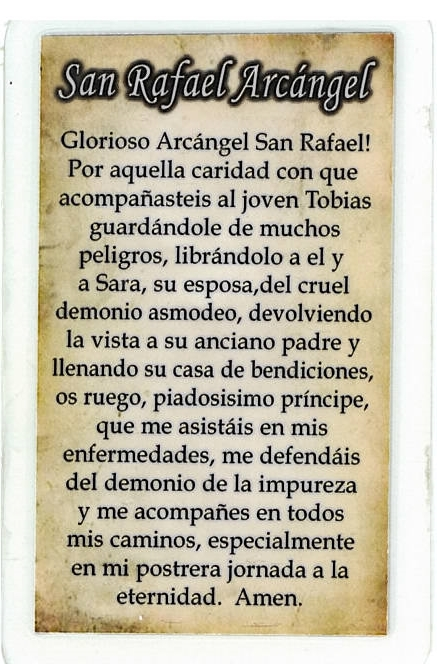Laminated Prayer Card - San Rafael Arcangel - L300.0092