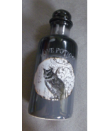 Gothic Love Potion Bottle Halloween Black with Owl Ceramic with Stopper  - $5.99