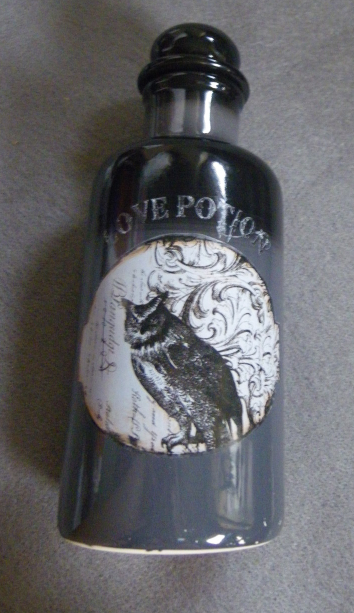Gothic Love Potion Bottle Halloween Black with Owl Ceramic with Stopper