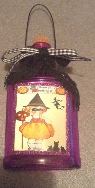 Halloween Potion Bottle Ornament Vintage-look Witch Black Cats Glitter Design