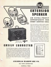 1940s RCA Dealer Data Spec Sheet - Extension Speaker  - Parts Catalog #4 - $4.95