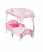 Disney Princess Girls Low Toddler Bed w/Canopy Safe Side Rails Pink Bedroom Set - $114.81
