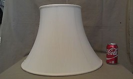 """5EE82 Vtg Lamp Shade Off White Fabric 14"""" Tall w/6"""" & 8"""" Fitter Rings IM... - $57.00"""