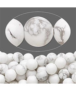 6mm White Howlite Smooth Round Beads (65+/- per strand) - $4.94