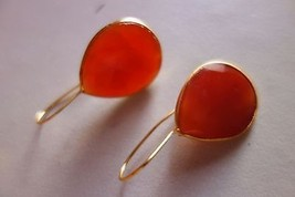 NATURAL CARNELIAN PEAR 20X24MMGOLD PLATED READY TO WEAR EARRING#AG4383 - $9.59