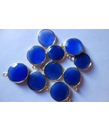BLUE CHALCEDONY COIN GOLD PLATED 10 PCS CONNECTORS #AG4589 - $23.74
