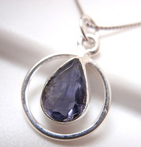 Faceted Iolite Teardrop in Hoop Necklace 925 Sterling Silver New - $14.06