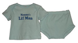 "Boys ""Mommys Lil Man"" Lap Shoulder Diaper Set Size 3-6 Months - $10.00"
