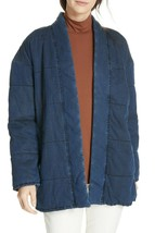 NWT $550 Eileen Fisher Slouchy Quilted Denim Cotton blend Jacket, L, mid... - $167.31