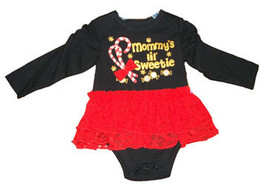 "Baby Girls ""Mommy's Little Sweetie"" Long Sleeve Onesie With Lace Skir - $9.00"