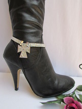 Women Silver Boot Single Strap Rhinestones Beads Big Cross Western Shoes Charm - $15.67