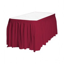 "1 Plain BURGUNDY Plastic table skirt 13' x 29"" adjustable to 19' include... - £6.28 GBP"