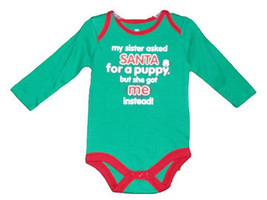 "Newborn 5.5-7.5 & Baby""My sister asked Santa for a Puppy"" Long Sleeve On... - $9.00"