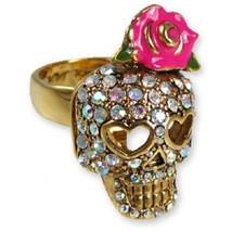 AUTHENTIC BETSEY JOHNSON Rhinestone Rose Skull ... - $21.36