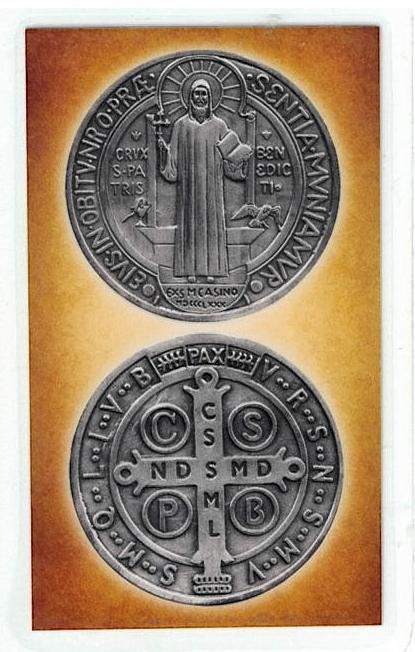 Laminated prayer card   san medalla benito 300.0304 001