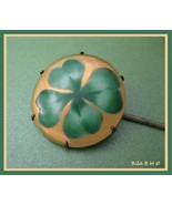 Irish SHAMROCK Vintage Handpainted HATPIN - Ceramic Head - 8 1/4 inches ... - $65.00