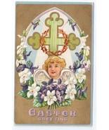 Easter Angel Cross Crown of Thorns Embossed Gilt Vintage Postcard 1911 - $7.40