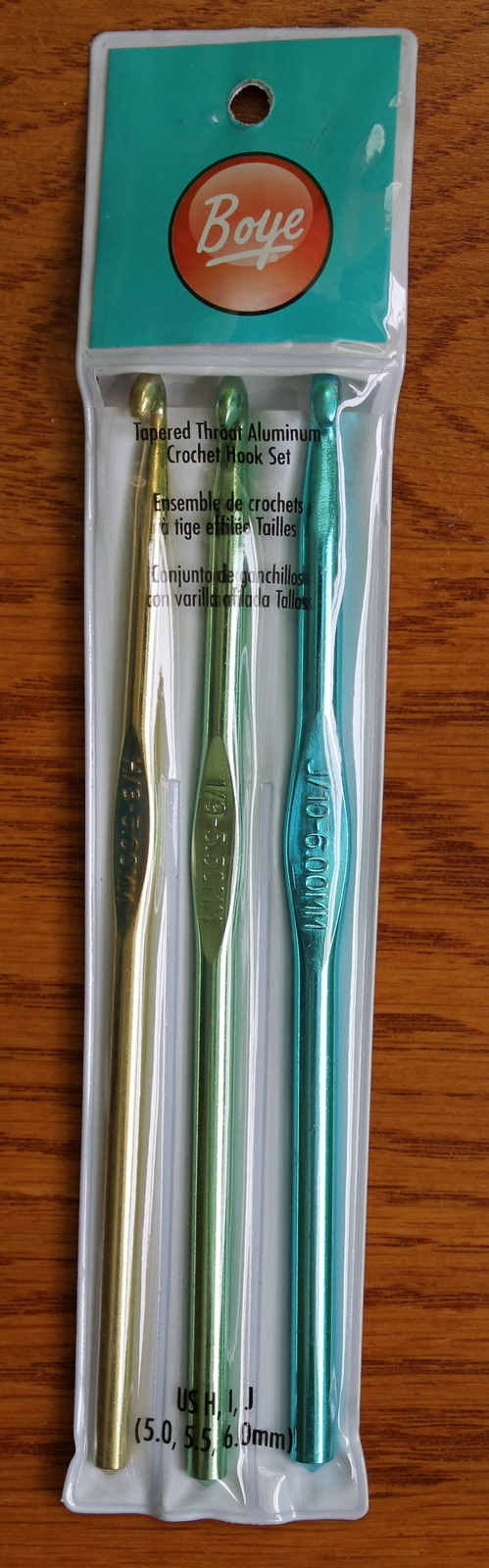 Boye Aluminum Crochet Hooks Set, Sizes H, I and J