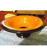 Depression Glass Decorative Brown Bowl With Black Trim - $50.00