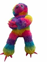 Build a bear rainbow plush sloth sticky pad hands feet toy pink washing - $22.80