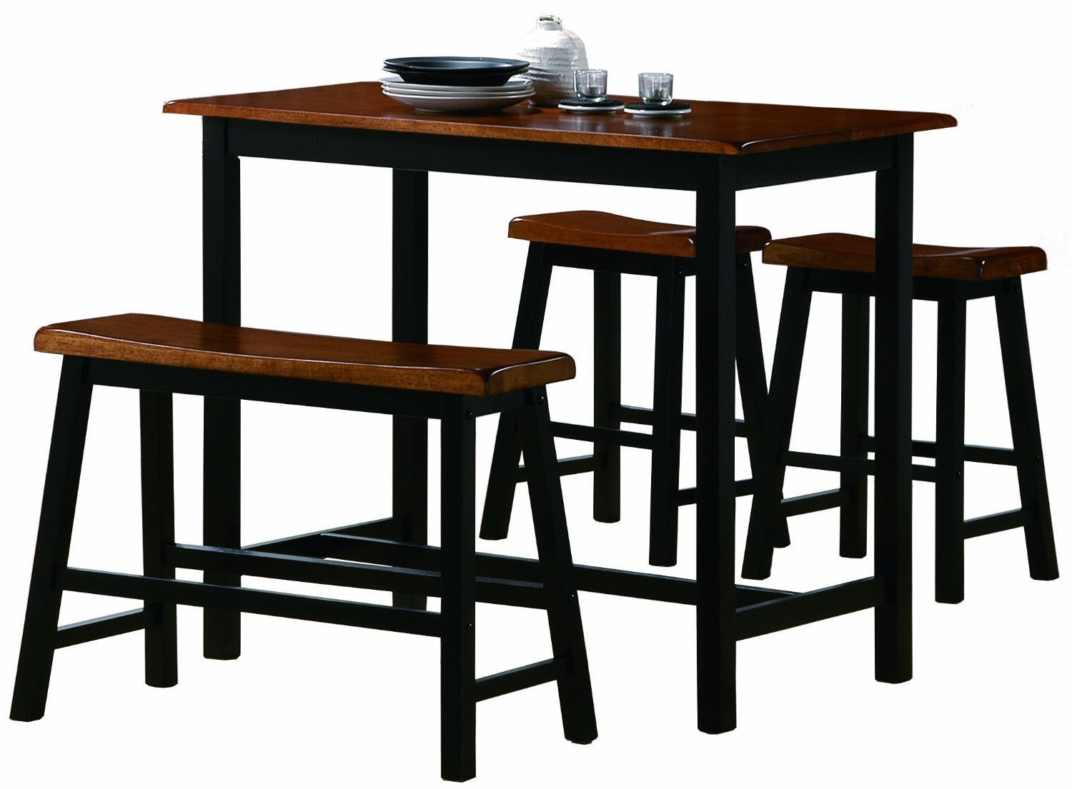 Counter Height 4 PC Table Set 2 Tone Cognac & Black, Kitchen Nook Table, Stools