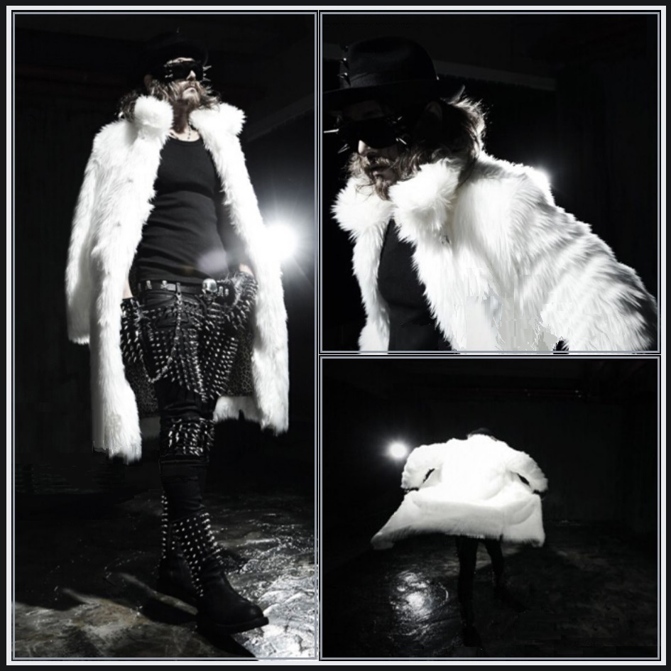 Mens Long Luxurious Thick Black or Thick White Mink Faux Fur Trench Coat