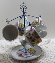 Vintage Retro Metal Mug Tree with Four Matching Floral Cups Mugs - $20.00