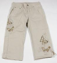 ARIZONA JEANS CO  GIRLS 10  CAPRI PANTS BUTTERFLIES BUTTERFLY RHINESTONES - $12.61