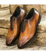 Best Handmade Whole Cut Patina finish Leather Oxfords Custom Shoes For Men - $159.99+