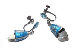 VINTAGE SILVER ENAMELED SIAM EARRINGS ALL ORIGINAL WOW!!!! - $39.99