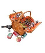 New Vintiquewise Wicker Picnic Basket with Accessories - Servings for 4,... - $59.99