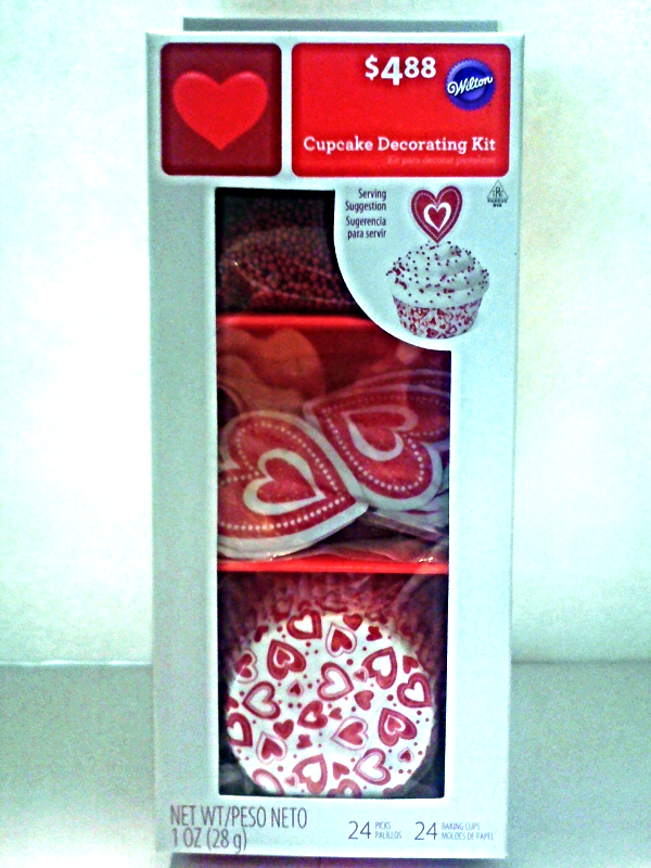 New Wilton Cupcake Decorating Kit Red & White Hearts Baking Cups Picks Sprinkles - $3.50