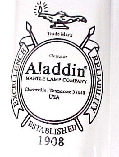 Aladdin Heelless Kerosene Oil Lamp Chimney Alladin Logo