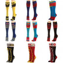 Superman Flash Batman Dc Comics Faux Lace Up Knee High Socks - $11.75