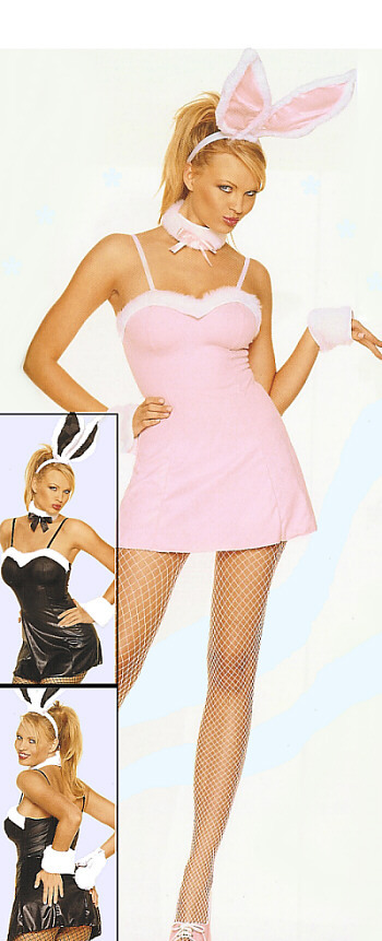 Pink Bunny Costume Mini Dress Fancy Dress Costume Set with Bunny Ears size M/L