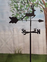 DEER  GARDEN STYLE WEATHERVANE BLACK WROUGHT IRON LOOK MADE IN USA - $21.99