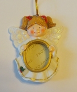 Angel Photo Frame Ornament New Resin Dark Blond... - $7.50