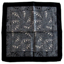 Quality 100% Silk Pocket Square Scarf - Black & Beige - $16.00