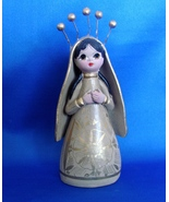 Beautiful Mexican Clay Doll Madonna Figurine Hand Made/Painted Mexico  - $12.49