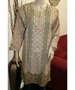 Dark Tan Pakistani Masoori Kurta Embroidery, Fancy Thread work,X-Large - $54.45