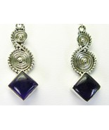 Purple Amethyst Diamond shape Cabochon Dangle S... - $66.24